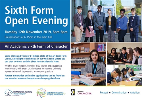 Sixth Form Open Evening for Sept 2020 Admissions